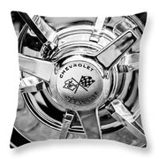 1963 Chevrolet Corvette Split Window Wheel Emblem -478bw Throw Pillow