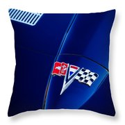 1963 Chevrolet Corvette Sting Ray Fuel Injected Split Window Coupe Hood Emblem Throw Pillow