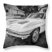 1963 Chevy Corvette Coupe Painted Bw    Throw Pillow
