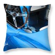 1963 Corvette Driver Approach Throw Pillow