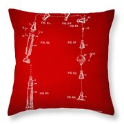 1963 Space Capsule Patent Red Throw Pillow