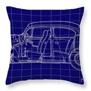 1963 Volkswagon Beetle Blueprint Throw Pillow
