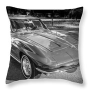 1964 Chevy Corvette Coupe Bw Throw Pillow