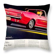 1964 - Ford Mustang Convertible - Advertisement - Color Throw Pillow