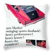 1965 - Rambler Marlin - Automobile Advertisement - Color Throw Pillow