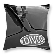 1965 Divco Milk Truck Hood Ornament 3 Throw Pillow