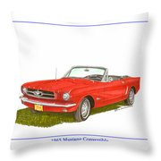 1965 Ford Mustang Convertible Pony Car Throw Pillow