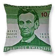 1965 Rwanda Abraham Lincoln Stamp Throw Pillow