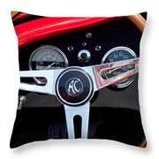 1965 Shelby Ac Cobra Roadster 289 Steering Wheel Emblem Throw Pillow