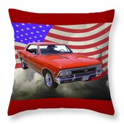 1966 Chevy Chevelle Ss 396 And United States Flag Throw Pillow
