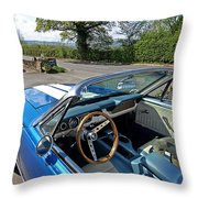 1966 Convertible Mustang On Tour In The Cotswolds Throw Pillow