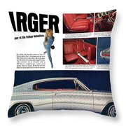 1966 Dodge Charger - New Leader Of The Dodge Rebellion Throw Pillow