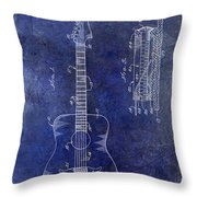 1966 Fender Acoustic Guitar Patent Drawing Blue Throw Pillow