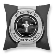 1966 Ford Mustang Shelby Gt 350 Emblem Gas Cap -0295bw Throw Pillow