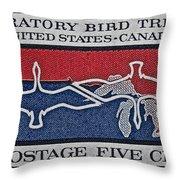 1966 Migratory Bird Treaty Stamp Throw Pillow