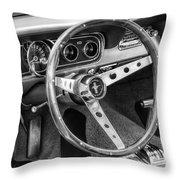 1966 Mustang Dashboard Bw Throw Pillow