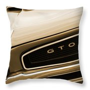 1966 Pontiac Gto In Sepia Throw Pillow