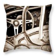 1966 Shelby 427 Cobra Steering Wheel Emblem Throw Pillow