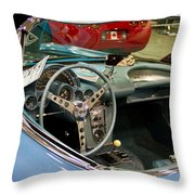 1967 Blue Corvette-interior And Wheel Throw Pillow