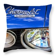 1967 Chevrolet Camaro Ss 350 Headlight - Hood Emblem  Throw Pillow