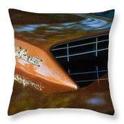 1967 Ford Mustang Cobra Jet Hood Emblem Throw Pillow
