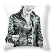 1968 Black Leather Suit Throw Pillow
