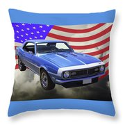 1968 Chevrolet Camaro 327 And United States Flag Throw Pillow
