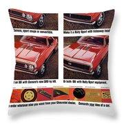 1968 Chevy Camaro Throw Pillow