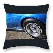 1968 Corvette Sting Ray - Blue - Side - 8923 Throw Pillow
