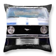 1968 Ford Mustang Front End Watercolor Throw Pillow