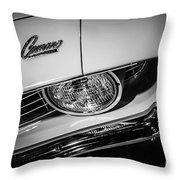 1969 Chevrolet Camaro In Black And White Throw Pillow