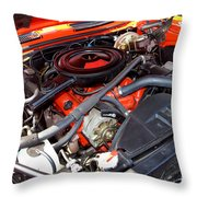 1969 Chevrolet Camaro Rs - Orange - 350 Engine - 7567 Throw Pillow