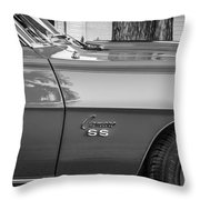 1969 Chevy Camaro Ss 396 Painted Bw Throw Pillow