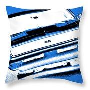 1969 Chevy Camaro Ss - Blue Negative Throw Pillow