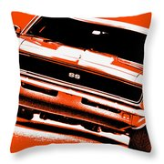 1969 Chevy Camaro Ss - Orange Throw Pillow
