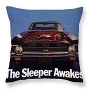 1969 Chevy Nova Ss - The Sleeper Awakes Throw Pillow