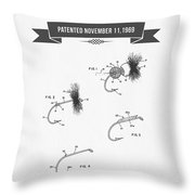 1969 Fly Fishing Lure Patent Drawing Throw Pillow