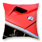 1969 Shelby Gt500 Convertible 428 Cobra Jet Hood - Grille Emblem Throw Pillow