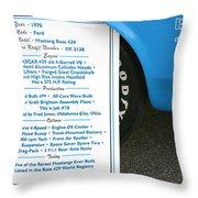 1970 Boss 429 Fact Placard Throw Pillow