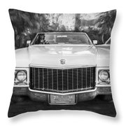 1970 Cadillac Coupe Deville Convertible Painted Bw Throw Pillow