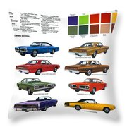 1970 Dodge Coronet Models And Colors Throw Pillow