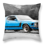 1970 Ford Mustang Boss Blue Watercolor Throw Pillow