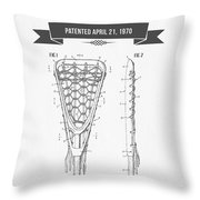 1970 Lacrosse Stick Patent Drawing - Retro Gray Throw Pillow