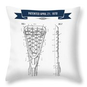1970 Lacrosse Stick Patent Drawing - Retro Navy Blue Throw Pillow