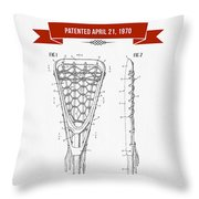 1970 Lacrosse Stick Patent Drawing - Retro Red Throw Pillow