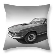 1970 Mach 1 Mustang 351 Cleveland In Black And White Throw Pillow