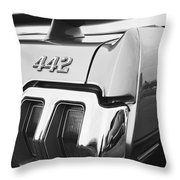 1970 Olds 442 Black And White Throw Pillow
