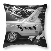 1970 Plymouth Road Runner Hemi Super Bird Bw Throw Pillow