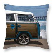 1970 Vw Bus Woody Throw Pillow