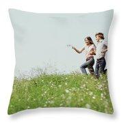 1970s Boy Girl Running Field Throw Pillow